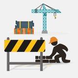 kran för barriär för vägg för arbetarkonstruktionstegelsten royaltyfri illustrationer