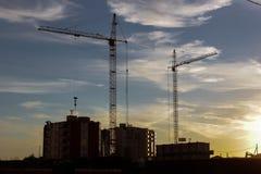 Kran- och byggnadshus Arkivbilder