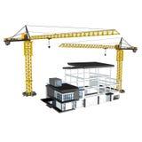 Kran und Gebäude 3D Stockbilder