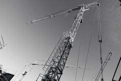 kranar för byggnadskonstruktion inom lokal Fotografering för Bildbyråer