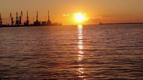 Kranar i havsporten p? solnedg?ngen, en hamn n?ra hamnstaden, en h?rlig seascape, en stor hamnstad p? solnedg?ngen arkivfilmer