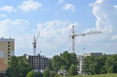 Kranar och byggnader under konstruktion Royaltyfria Foton