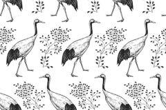 Kranar och filialer för fåglar japanska seamless modell Svart och vektor illustrationer