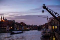 Am Kranen in Bamberg during sunset. The Regnitz river during sunset and Bamberg's landmarks Stock Images