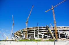 Kranen - bouw van het stadion Royalty-vrije Stock Foto's