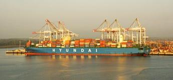 Kranen, Containers & Schepen Stock Foto's