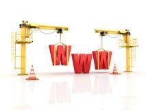 Kranen die het WWW-Woord bouwen royalty-vrije illustratie