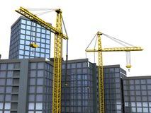 Kranen en gebouwen stock illustratie