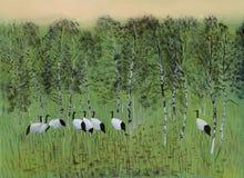 Kranen in het moeras stock illustratie
