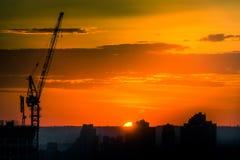 Kranen på solnedgången arkivbild