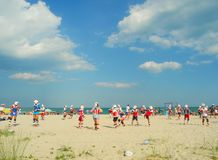 Beach classes taekwondo. Stock Image