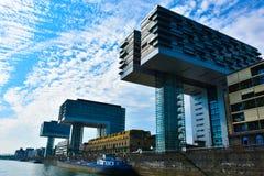 Kranhäuser, moderne Architektur, bei Köln Stockbild