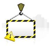 Kranhaken mit unbelegtem Plakat Stockbild