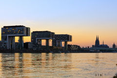 Kranhaus buildings and Cologne Cathedral Royalty Free Stock Photography