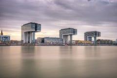 Kranhaus Crane Houses, Cologne Tyskland arkivbild