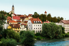 Kranj, Slovenia. Old town and river Sava stock image