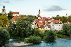 Kranj, Slovenia. Panoramic view with river stock photo