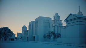 Krankamera geht unten über einfache Stadt, Zeitspanneschuß hinaus 3d stock abbildung