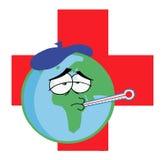 Kranke Erde über einem roten Kreuz Lizenzfreie Stockfotos