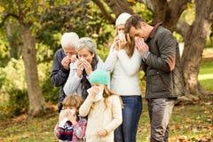 Kranke Familie, die ihre Nasen durchbrennt Lizenzfreies Stockfoto