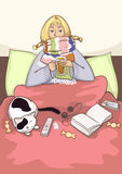 Kranke junge Frau im Bett Lizenzfreie Stockfotos