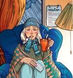 Kranke Kälte des Mädchens. Mädchen, das in einem Stuhl und in einem holdin sitzt Stockbild