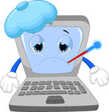 Kranke Laptopkarikatur Stockbild