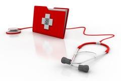 Krankengeschichte und Stethoskop Lizenzfreie Stockfotos