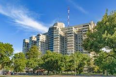 Krankenhaus, das Außenansicht, Montevideo, Uruguay aufbaut Stockfotografie