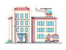Krankenhaus, das flache Art aufbaut vektor abbildung