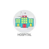 Krankenhaus-Gebäude behandelt ärztliche Behandlungs-Ikone Clinic Stockfotos