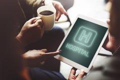 Krankenhaus-Heilungs-Gesundheits-Behandlungs-Ikonen-Grafik-Konzept Lizenzfreie Stockfotos