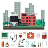 Krankenhaus mit medizinischen Ikonen Stockfoto