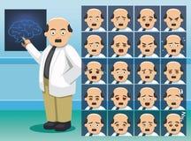 Krankenhaus-Neurologe-Zeichentrickfilm-Figur-Gefühlgesichter stock abbildung