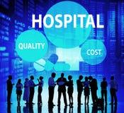 Krankenhaus-Qualitäts-Kosten-Gesundheitswesen-Behandlungs-Konzept Stockbilder