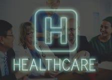 Krankenhaus-Quergesundheits-Behandlungs-Ikonen-Grafik-Konzept Lizenzfreies Stockbild