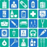 Krankenhaus und medizinische Ikonen Lizenzfreies Stockfoto