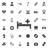 Krankenhausbett Ikonen-Vektor Stockfotografie