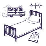 Krankenhausbett und -krankenwagen Stockfotos