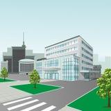Krankenhausgebäude auf Stadthintergrund in der Perspektive Stockfotografie