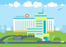 Krankenhausgebäude, Doktorpatientenklinik, Krankenwagenauto medizinisch Lizenzfreie Stockbilder
