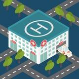 Krankenhausgebäude, medizinischer flacher isometrischer Vektor Stockfoto