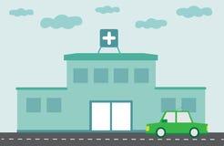 Krankenhausgebäude mit flachem Design des grünen Autos Lizenzfreie Stockfotografie