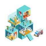 Krankenhausgebäude mit isometrischem Konzept des flachen Netzes 3d der Leute Stockfotos