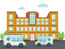 Krankenhausgebäude mit Krankenwagen zwei Lizenzfreies Stockfoto