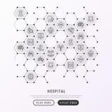 Krankenhauskonzept in den Bienenwaben mit dünner Linie Ikone stock abbildung