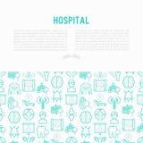 Krankenhauskonzept mit dünner Linie Ikonen vektor abbildung