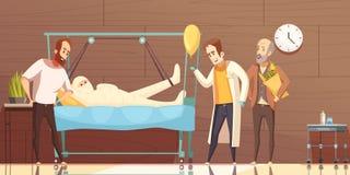Krankenhauspatient-Besucher-Karikatur-Illustration Stockfotografie