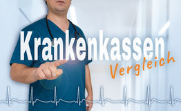 Krankenkassen in german Health insurance comparison shows on v Royalty Free Stock Photo