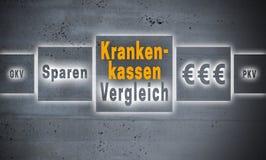 Krankenkassen Vergleich in german Health insurance comparison Royalty Free Stock Photos